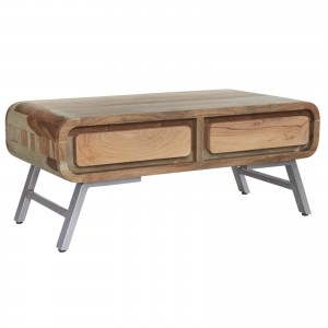 Lava Industrial Curve Sheesham Modern Coffee Table Lounge Center