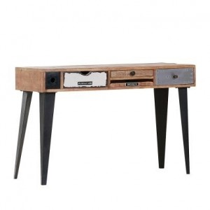 Lava Industrial Emboss Pressed Metal Office Desk Hall Table Console 120cm