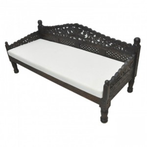 Mughal Garden Hand Carved Balinese Daybed Chocolate L