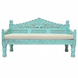 Mughal Garden Hand Carved Balinese Daybed Turquoise M