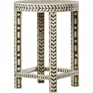 Maaya Bone Inlay Small Round Side Table Stool Stand B