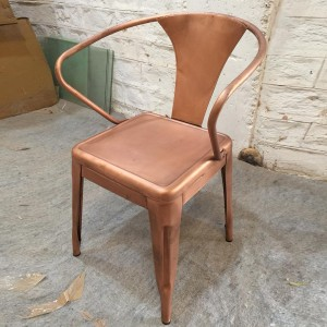 Industrial Cross Back Copper metal tub dining chair home restaurant seating