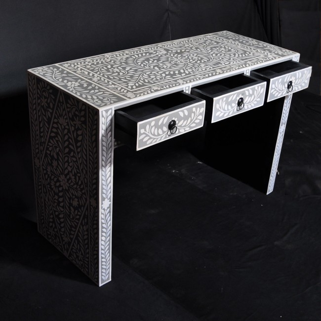 White And Gray Bone Inlay Accent Table: Pandora Bone Inlay Grey Floral Console Table