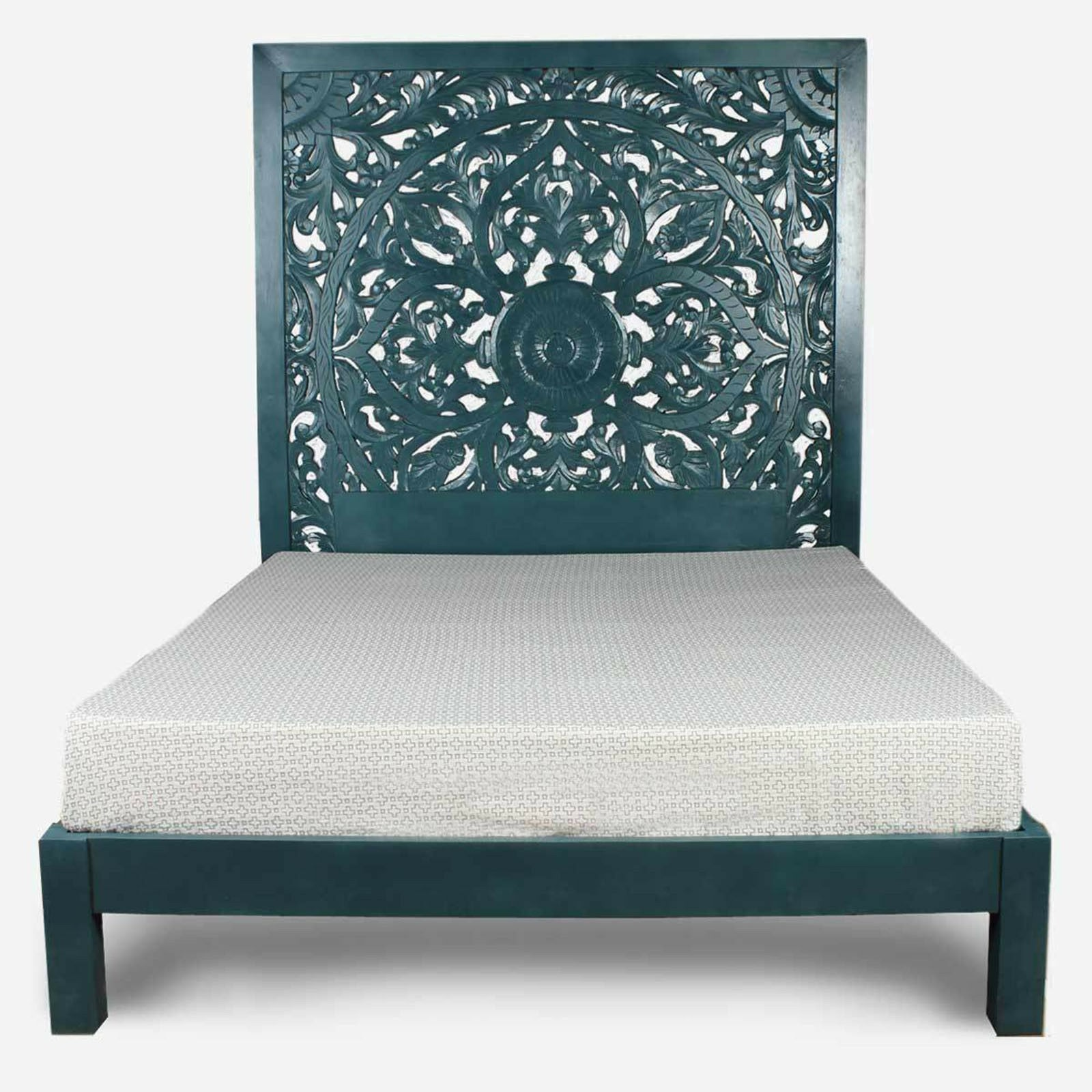 Dynasty Hand Carved Indian Solid Wooden Bed Frame Turquoise