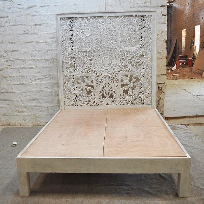 Hand Carved Bed: Dynasty Hand Carved Indian Solid Wooden Kerri Bed Frame White
