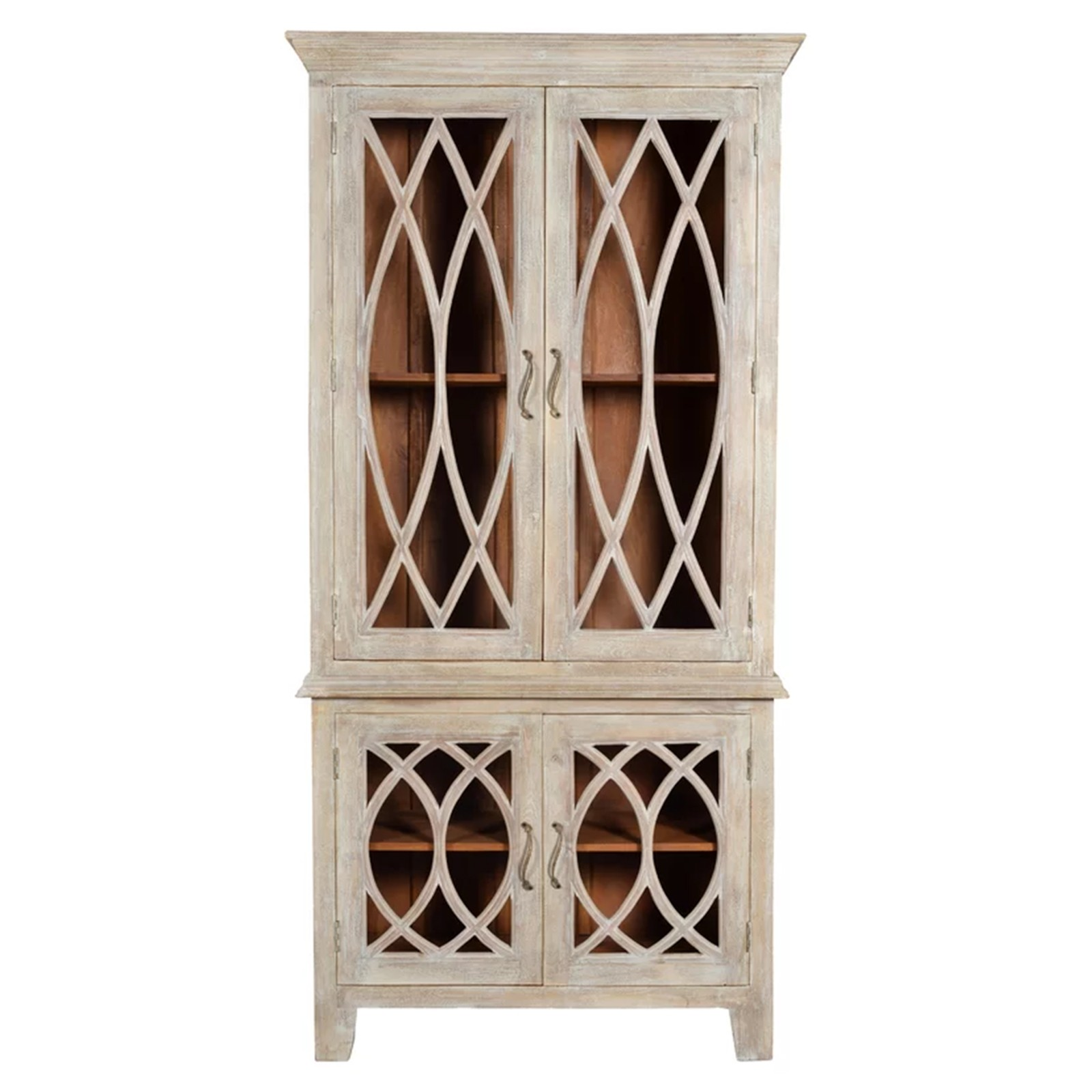 French Glass Kitchen Cabinet Doors: French Arched Glass Doors Cabinet Hutch