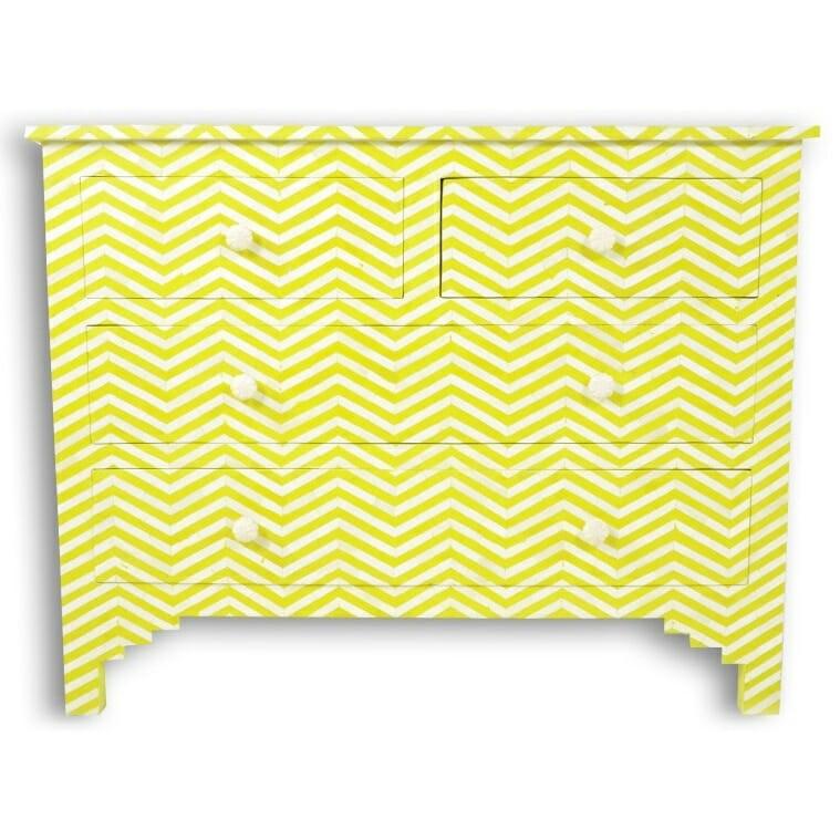 Maaya Bone Inlay Chest Of 4 Drawers Yellow Chevron Zigzag